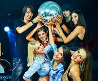 Woman on disco in night club Royalty Free Stock Image