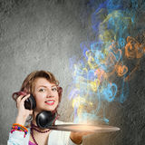 Woman with disco plate Stock Photography