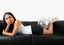 Woman and discoball Royalty Free Stock Photography