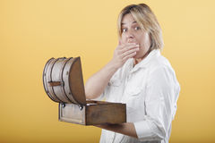 Woman discovered inside the box Royalty Free Stock Photography