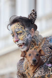 Woman disguised as a leopard during the Carnival of Venice Royalty Free Stock Images