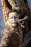Woman disguised as a leopard during the Carnival of Venice Royalty Free Stock Image