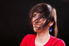 Woman with disheveled hair Stock Photography