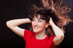Woman with disheveled hair Royalty Free Stock Photo