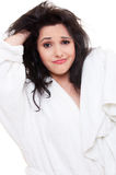 Woman with dishevelled hair Stock Photo