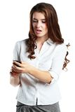 Woman dismayed Stock Photography