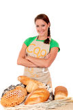Woman display various bread Royalty Free Stock Images