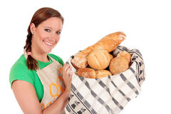 Woman display various bread Stock Photography