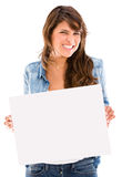 Woman displaying a banner Royalty Free Stock Images