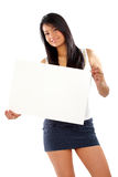 Woman displaying a banner add Stock Images