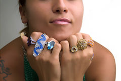 Woman displaying her rings Royalty Free Stock Photography