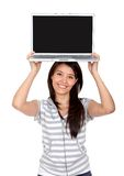 Woman displaying laptop Stock Image