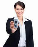 Woman displaying a mobile phone on white Stock Photo