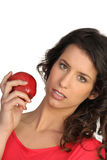 Woman displaying red apple Royalty Free Stock Photo