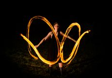 Fire show in the darknes Royalty Free Stock Photography