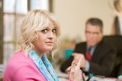 Woman Displeased with Male Colleague stock images