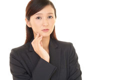 Woman dissatisfied expression Stock Photography