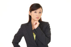 Woman dissatisfied expression Stock Images