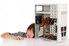 Woman in distress with computer Royalty Free Stock Images