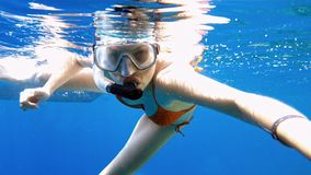 Woman dive underwater in snorkeling diving mask Stock Images