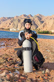 Woman diver. Prepares to dive. Dahab, Red Sea Stock Image