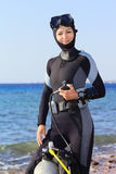 Woman diver. Prepares to dive. Dahab, Red Sea Stock Photos