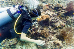 Woman diver at tropical coral reef scuba diving in tropical ocea Royalty Free Stock Photography