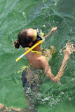 Woman diving. In caribbean sea, shot in cuba stock photo
