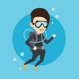 Woman diving with scuba and showing ok sign. Royalty Free Stock Photos