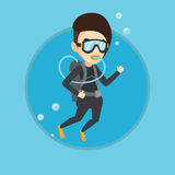 Woman diving with scuba and showing ok sign. Stock Image