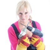 Woman DIY holding power tools Royalty Free Stock Images