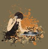 A woman dj on a floral illustration Royalty Free Stock Image