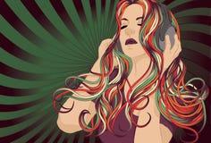 Woman DJ listening to music with headphones. Woman DJ with colorful hair listening to music with headphones Stock Image