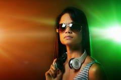 Woman DJ portrait Stock Images