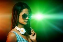 Woman DJ portrait Royalty Free Stock Images