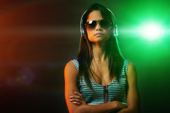 Woman DJ portrait Royalty Free Stock Photo