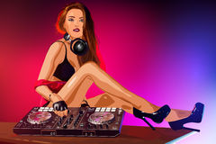 Woman dj Royalty Free Stock Image