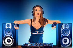 Woman dj. Young sexy woman dj playing music Royalty Free Stock Photos