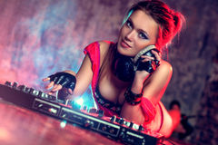 Woman dj Royalty Free Stock Photography