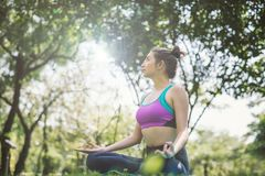Woman do Yoga in the park healthy exercise. royalty free stock images