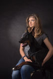 Woman with dobermann dog Royalty Free Stock Images