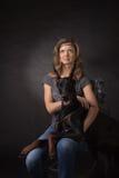 Woman with dobermann dog Stock Photography