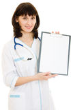 Woman doctor with an advertising tablet Stock Images