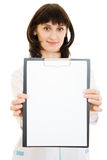 Woman doctor with an advertising tablet Royalty Free Stock Images