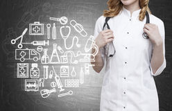 Woman doctor and blackboard with medicine sketches Stock Images
