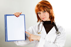 woman doctor with board empty Stock Image