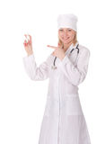 Woman doctor brings syringe Stock Photo