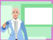 Woman doctor cardiologist with a tablet in hand points to a poster, white square. Cartoon vector flat. Woman doctor cardiologist with a tablet in hand points to royalty free illustration