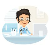 Woman Doctor Character Sitting at the Desk stock illustration