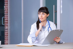 Woman Doctor chart Royalty Free Stock Image